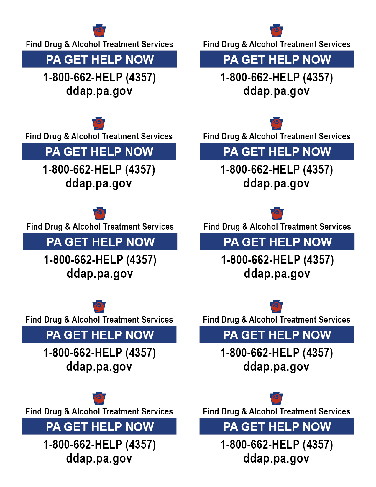 Get Help Now rack cards for counties in color